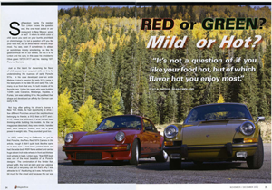 published in 9 Magazine, November/December 2012, this article looks at two early 1970s Porsche 911s. One is a high performance RS and the other is a lightweight touring car